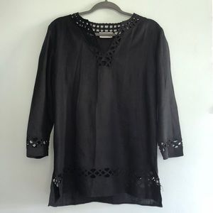 Dana Buchman black linen top